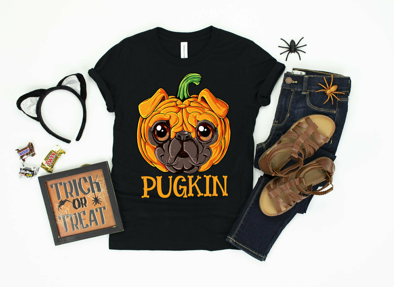 Pugkin Pug Halloween Shirt, Happy Halloween, Pug Gifts, Trick or Treat, Jack O Lantern, Funny Cute Pugs, Pumpkin Dog , pugkin pug, halloween shirt, pug lover gift, happy halloween, jack o lantern