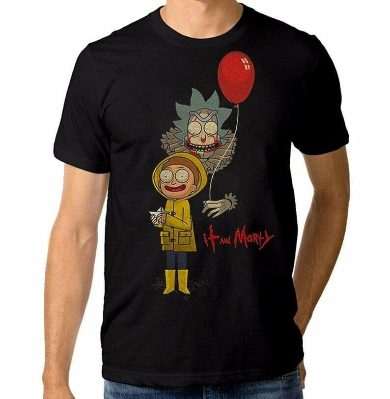 Rick Sanchez Pennywise The Clown IT T-Shirt, Men's Women's Cotton Tee, 90s Horror Movie Clown Stephen King Illustrated Unisex Tee Shirt Men's Women's Clothing Birthday Scary Movie, Squad Tee T-Shirt