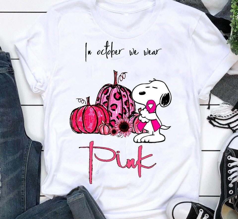 In October We Wear Pink Warrior Snoopy Woodstock Pumpkin Halloween,Breast Cancer,Strong Women,Cancer Awareness Survivor T-Shirt, Snoopy Charlie Brown, Snoopy Woodstock, Snoopy Warrior, Breast Cancer