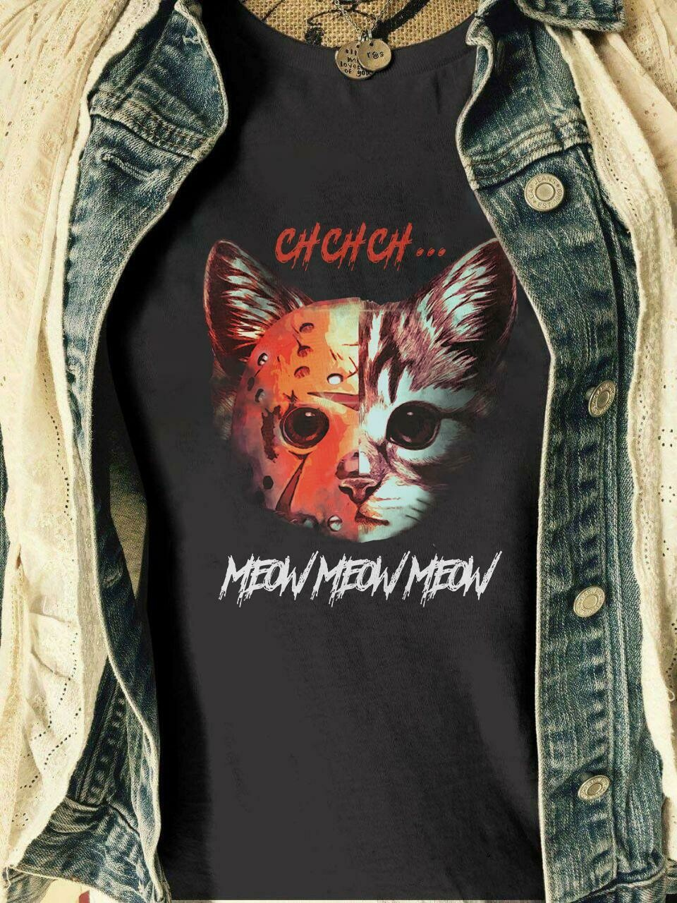 ChChCh Meow Meow Meow Halloween Horror Characters Squad Goals IT Joker Pennywise Chucky Ghostface T-Shirt, ChChCh Meow, Chucky Ghostface, Horror movie shirt, Freddy jason, Myers leatherface