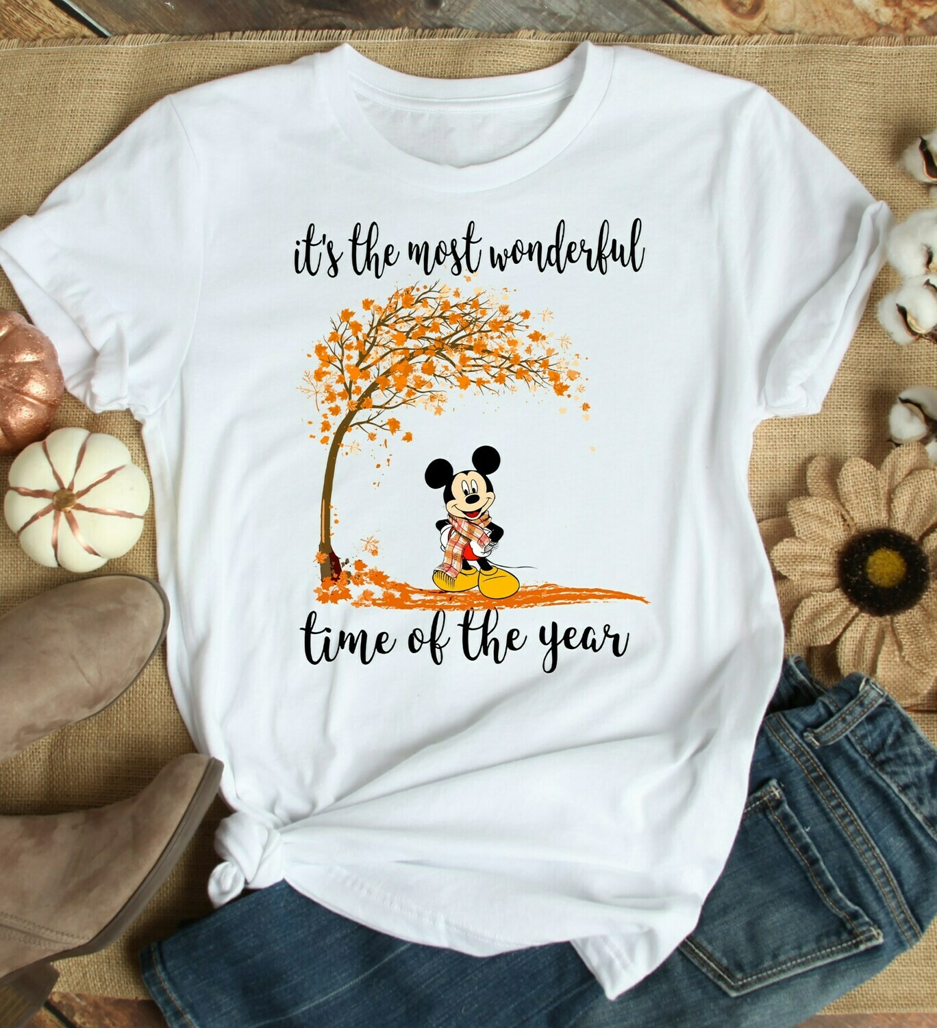 Disney Mickey Halloween Pumpkin It's The Most Wonderful Time Of The Year Gifts For Lovers Autumn Women Best Friend Vacation Party T-Shirt, Happy Halloween, Disney Women gifts, Mickey And Friend