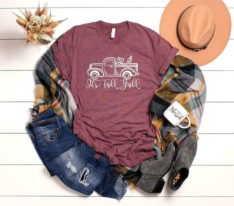 It's Fall Y'all T-shirts for woman, Fall Truck T-shirt, Autumn Shirt, Fall Shirts, Thanksgiving,Women's Graphic Tee,Fall T-shirt, fall shirt, fall shirts, pumpkin patch, pumpkin shirts, pumpkin shirt