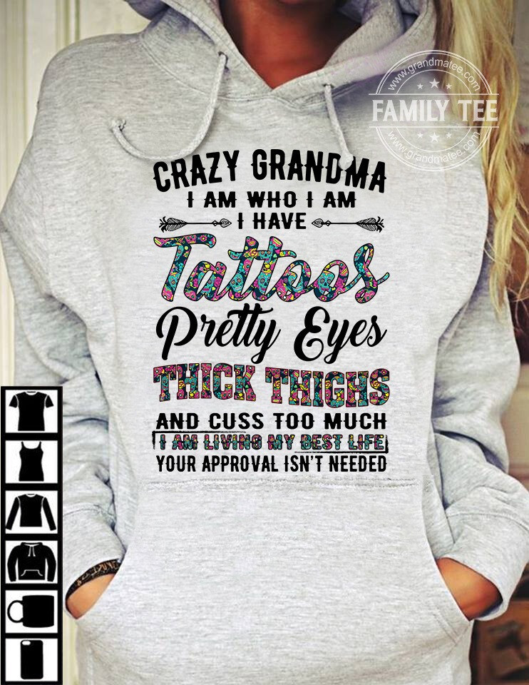 Crazy Grandma tattoos pretty eyes thick thinks and cuss too much, Thick thighs pretty eyes, cinco de drinko, beer me, thick thighs, pretty eyes, plus size, thin patience, beach shirt