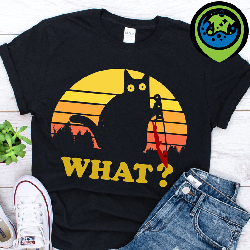 Cat What? Funny Black Cat with knife vintage T-Shirt, Cat What, Funny Black Cat, cat with knife, Black Cat Murderous, humorous cat, murderous black cat, cat with, bloody knife, cat lovers, cat owners