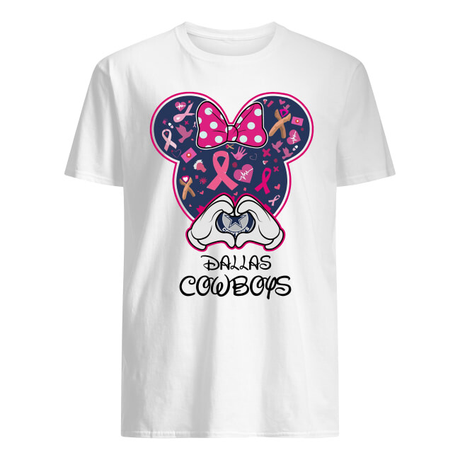 Dallas Cowboys Minnie mouse Breast Cancer Awareness shirt, Dallas Skyline Vintage Retro T-Shirt Gift - Dallas Texas, Cowboys Minnie, Cowboys fabric bow, Dallas cowboys girl, cowboys gift, Mickey Mouse