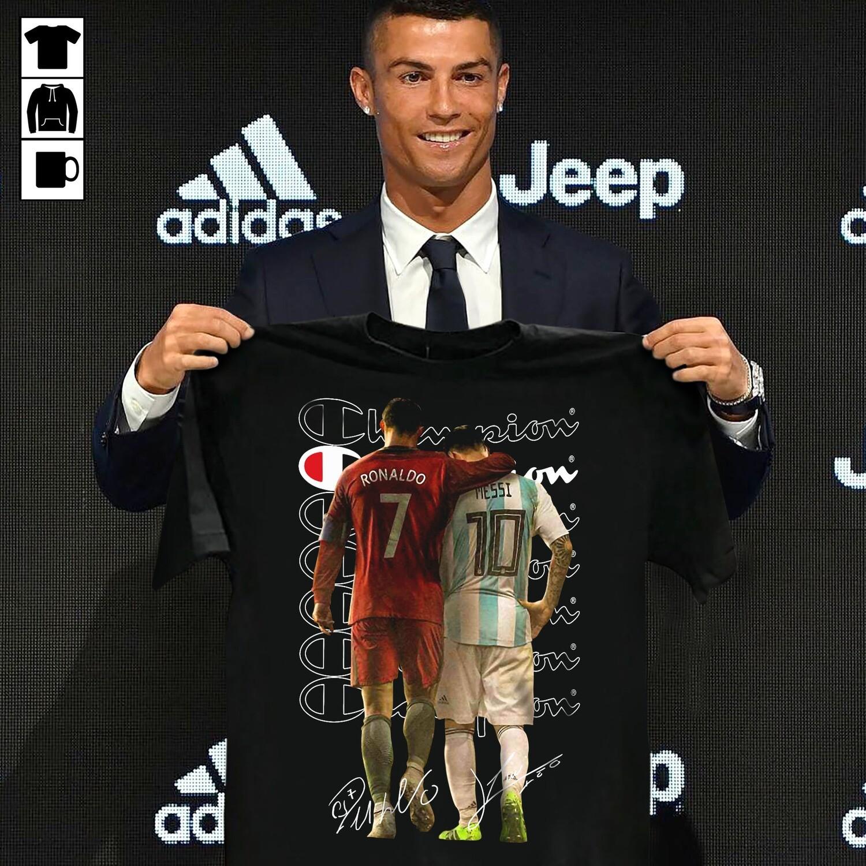 Signatures Champion Cristiano Ronaldo Lionel Messi shirt, Cristiano Ronaldo shirt, Ronaldo t-shirt kids, men's and women's shirt, clothing, unisex t-shirt, Messi T-shirt Lionel 10 Argentina Barcelona