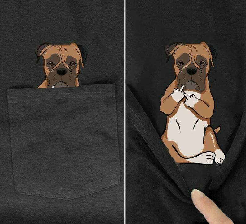 Funny Boxer Middle Finger Pocket Tee Dog Owner Shirt Humor Adult Tshirt Dogs Lover Birthday Christmas Gift For Men Women Dad Mom, Pocket funny, pocket dog tee, pocket cat tee, funnny shirts