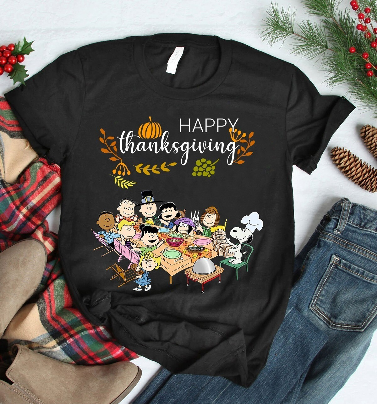 Snoopy Happy Thanksgiving Shirt, snoopy  Thanksgiving Gifts for Friends, Ugly Shirt Sweater Hoodie For Women Men, Snoopy shirt, Christmas Gift, Snowflake, Disney shirt, Disney Family Shirts, Snowmen