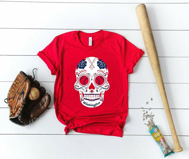 Washington sugar skull shirt, Washington baseball shirt, Washington Baseball tank top, baseball sweatshirt, baseball shirt, baseball hoodie, sugar skull shirt, sugar skull tank top, sugar skull tee