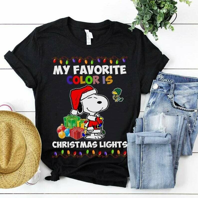 Snoopy Santa My Favorite Color Is Christmas Lights Christmas Shirt,Christmas Lights,Christmas Is My Favorite,Christmas Graphic Tee, snoopy Christmas, Snoopy shirt, Christmas Shirt, Sweet Christmas tee
