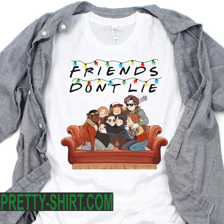 Friends Don't Lie Lights Shirt - Stranger Things Friends T-shirt - Hawkins Steve Billy Eleven Upside Down Demogorgon - Gift For Men Women, gift for women, funny shirt, christmas gift, friends tv show