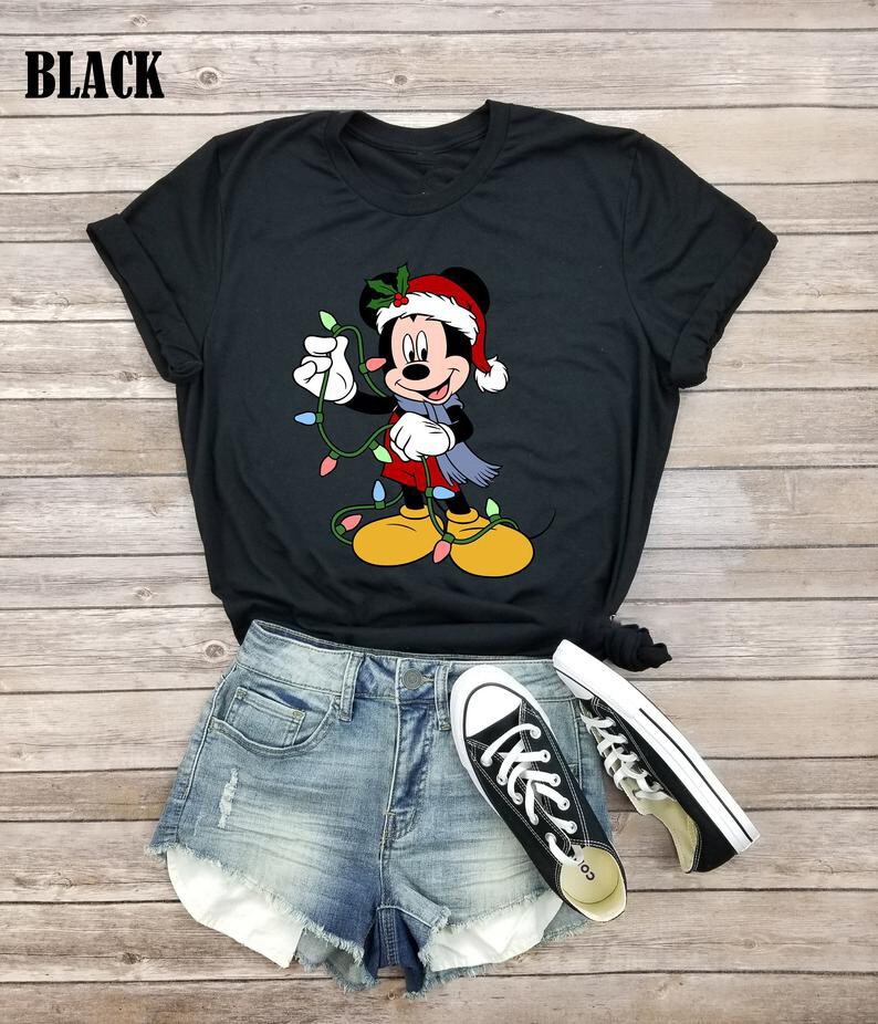 Santa Mickey Mouse Christmas Shirt - Mickey Mouse Christmas Shirt,Disney Christmas Light Shirt,Disney Christmas Shirt,Christmas 2019 Shirt, disney princess, disney shirt, women disney shirt