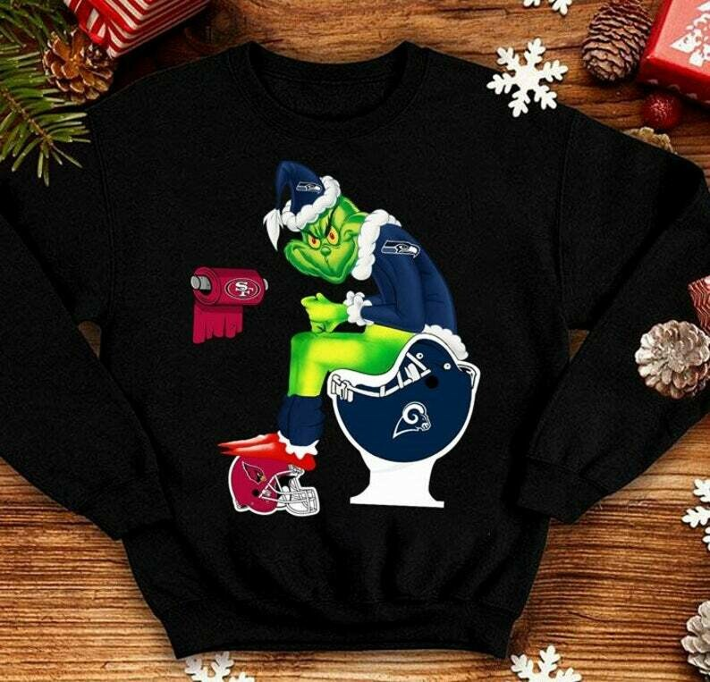 NFL Football Cowboys WC Toilet The Grinch Resting Grinch Face Merry Christmas Xmas Gifts Noel Holly Jolly Holiday Family Vacation T-Shirt, Stole Christmas, Merry Grinchmas, Resting Grinch Face tee