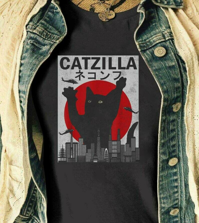 Vintage Catzilla Japanese Sunset Style Cat Kitten Lover T-Shirt Gift, Funny Cat T shirt, Cat Christmas, Halloween Cat Shirts,Catzilla Tee, Santa claus, santa shirt, xmas shirt, christmas t shirt