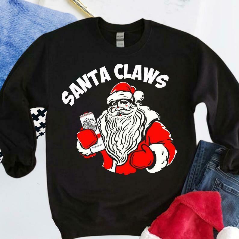 Christmas Shirt Ain't No Laws Santa Claws.Christmas Is Coming Funny Santa Claus Drinking Noel Gift For Men & Women For Xmas Holiday, Christmas Sweatshirt, Funny Santa Shirt, White Claw Shirt