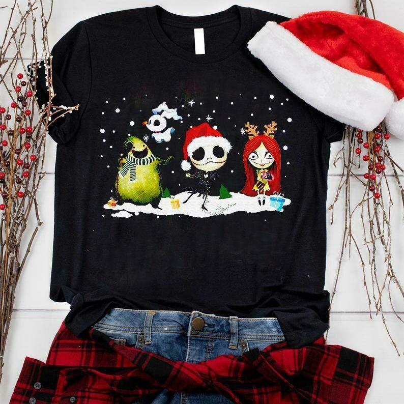 Nightmare Before Christmas Shirt, Jack & Sally, Disney Christmas Shirt, Sandy Claws Jack Skellington Nightmare Before Christmas, Disney shirt, Snowflake, Santa Hat, Reindeer, Disney Castle Shirt