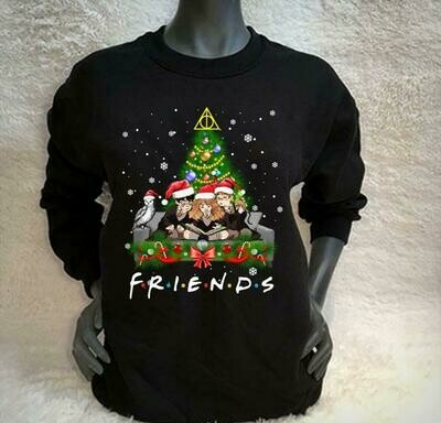 Friends Merry Christmas Harry Potter Patronus Daniel Radcliffe Emma Watson 14 Years 1997 2011 Hogwarts Castle Family Movie Fans T-Shirt, HARRY POTTER LOVER, HARRY POTTER GIFT, Harry Potter Glasses