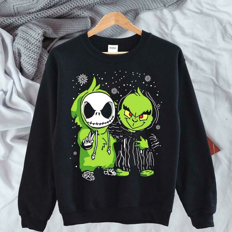 Jack Skellington The Grinch Stole Christmas The Nightmare Before Christmas Merry Grinchmas Disney Villains Unisex T-Shirt Sweatshirt