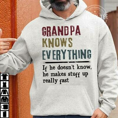 Grandpa Shirt - Funny Grandpa Gift Tee - Grandpa Knows Everything - Papa T-Shirt Papaw Shirt - Funny Grandpa Gift Tee - Papaw Knows Everything, Pops Shirt - Funny Grandpa Gift Tee