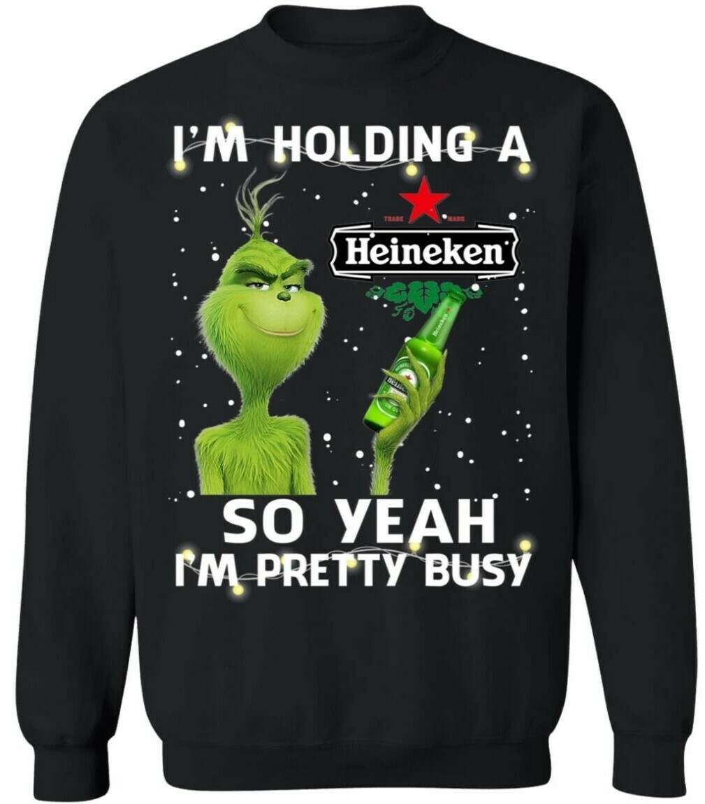 I'm Holding A Heineken Grinch Funny Beer Xmas Shirt, In a World Full Of Grinches be a Grishworld Christmas Raglan Sleeve Shirt, Funny Grinch Hand holding Lawyer ornament Christmas T-Shirt
