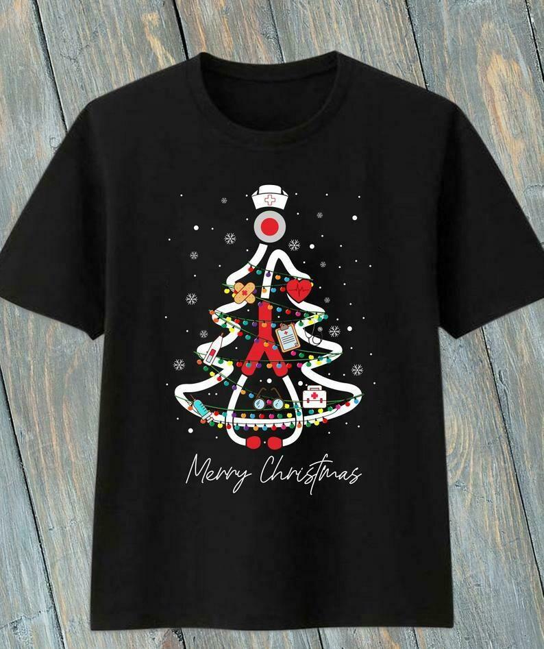 Nurse Christmas Tree Gift For Love Nurselife Heartbeats Nursing Student Graduation School RN Registered Nurse's Day On Christmas Day T-Shirt, Nurse Christmas, Nurse Christmas Tree shirt
