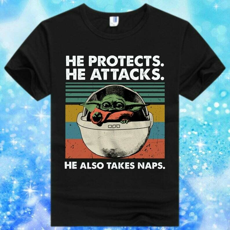 Baby Yoda He Protects He Attacks He Also Takes Naps,Star Wars The Mandalorian The Child First Memories Floating Pod T-Shirt, Baby Yoda, He Protec, He Attacks, He Also Takes Naps, Mandalorian Shirt