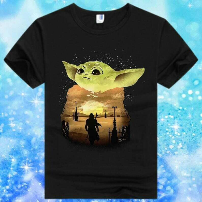 Star Wars Yoda Silhouette Sunset Cool Shiny Mysterious feel the force Mandalorian Baby Moon Power Retro Striped Vintage Sunset shirt, Baby Yoda, He Protec, He Attacks, He Also Takes Naps tee