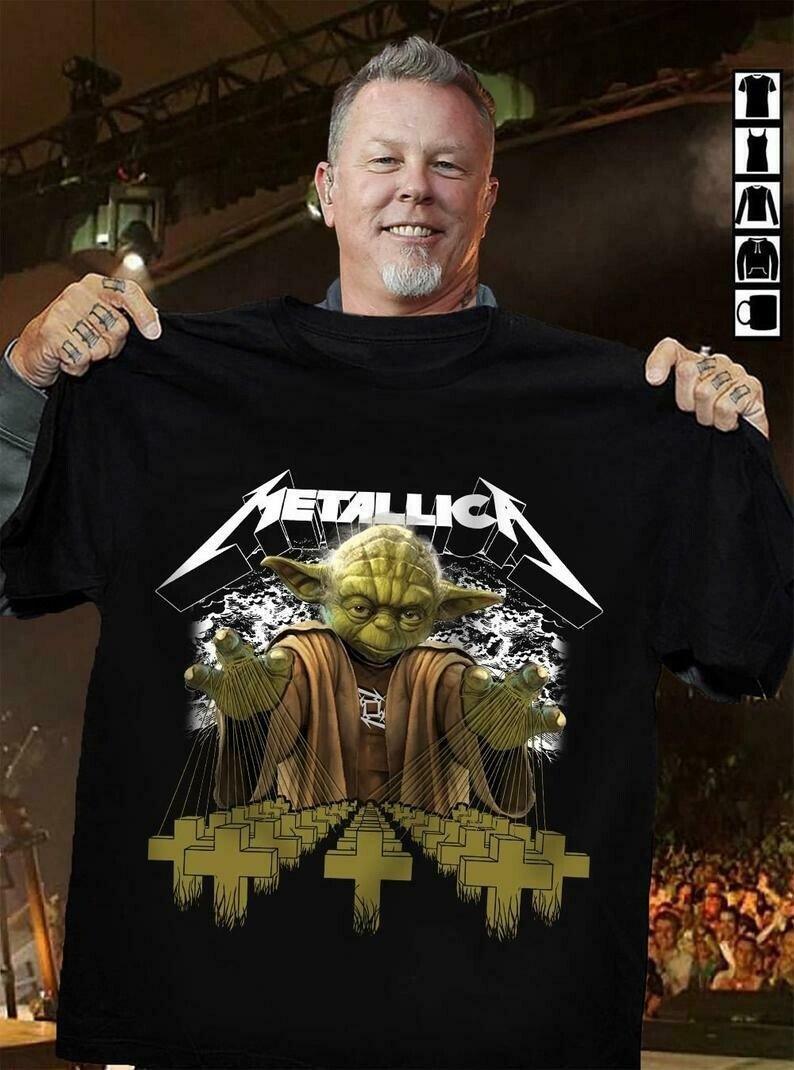 Metallica Vintage Band Baby Yoda Star Wars The Mandalorian The Child First Memories Floating Rock and Roll 1970s Dad Mon Kid Fan T-Shirt, Metallica rock shirt, Metallica fan shirt, Funny Football gift
