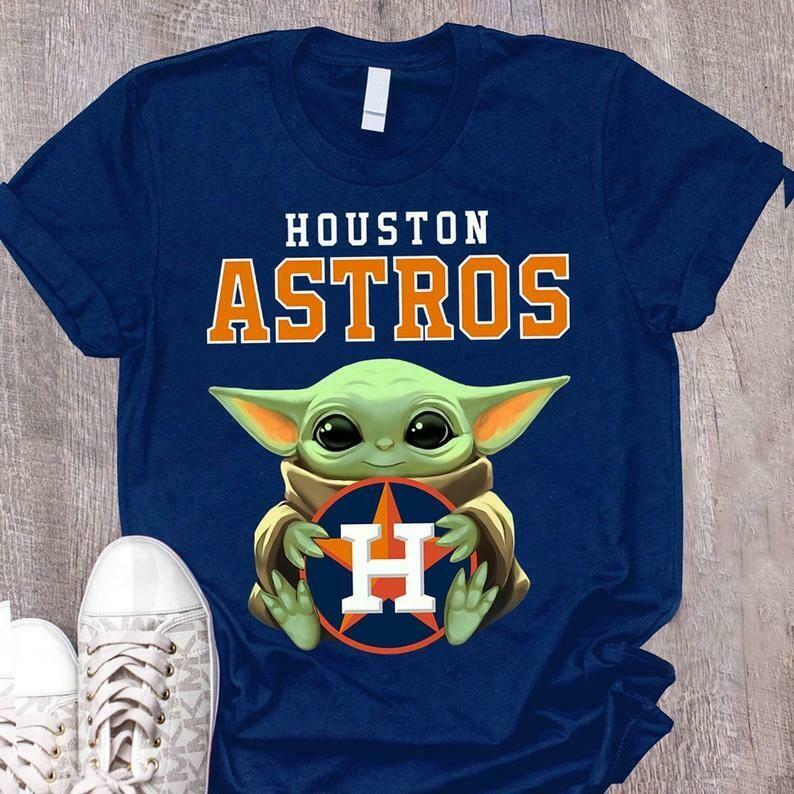 Houston Astros Baby Yoda shirt, Star Wars Unisex cotton Shirt, Baby Yoda Football team T-Shirt, T-Shirt, baby yoda gift, baby yoda sweatshirt, baby yoda sweater, mandalorian, baby yoda, yoda baby tee