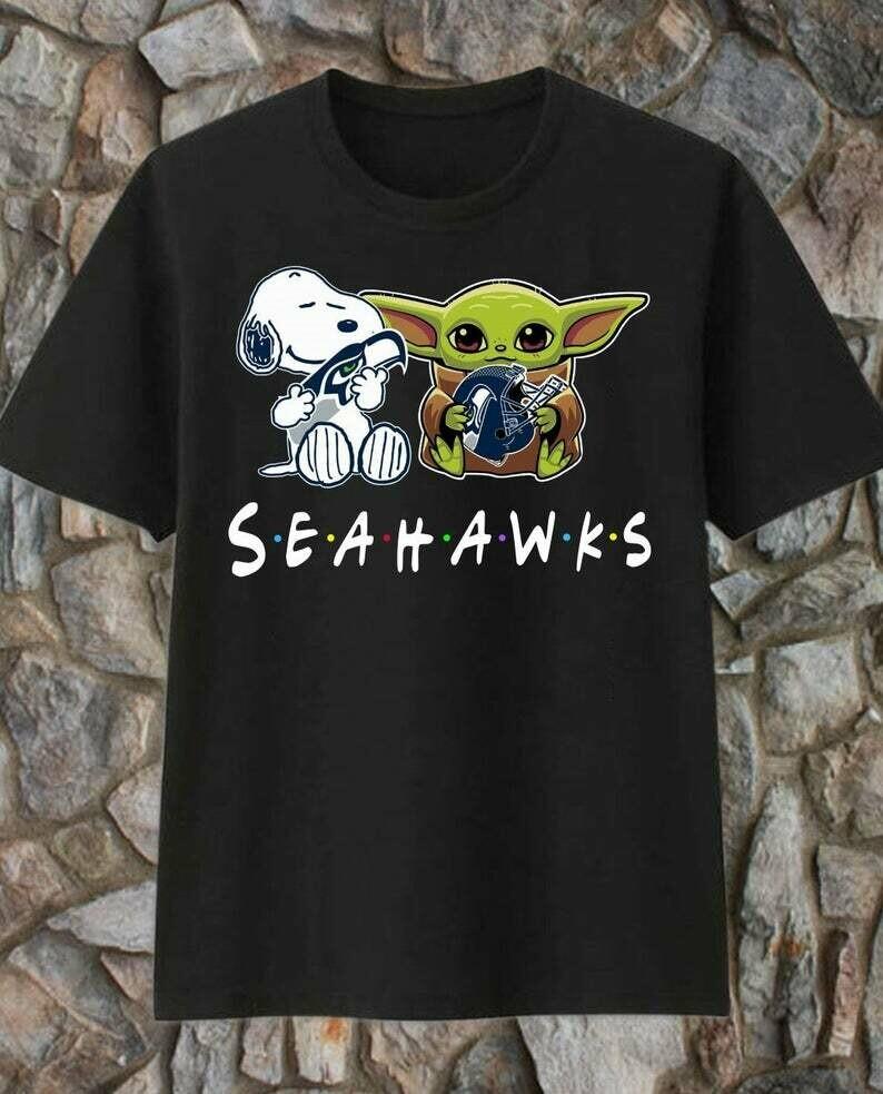 Snoopy Star Wars Yoda Seattle Seahawks Shirt,Baby Yoda The Mandalorian The Child First Memories Floating Seahawks Dad Mon Kid Fan Tshirt, Seattle Seahawks tee, Seahawks Shirt, Funny Seahawks shirt