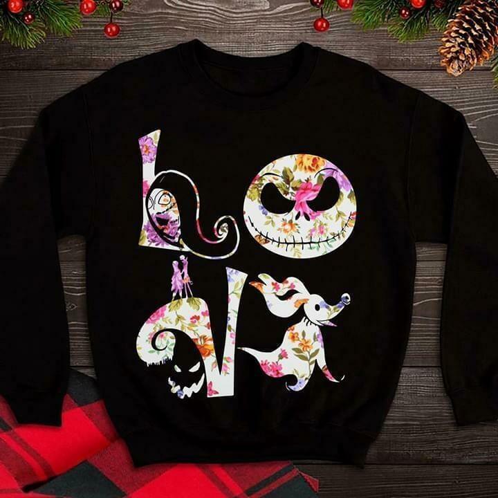 love jack skellington hippie floral art layer shirt