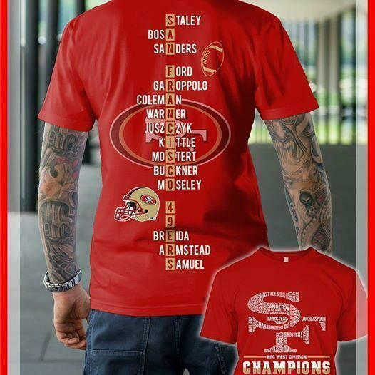 san francisco 49ers nfc west division champions 2019 all players name logo typography puzzle back t shirt