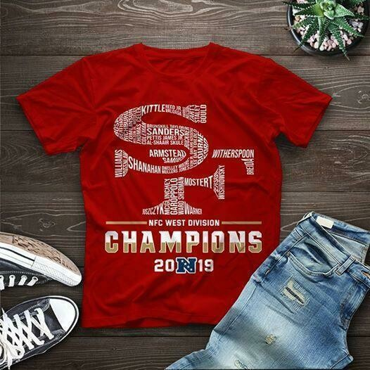san francisco 49ers nfc west division champions 2019 all players name logo typography t shirt
