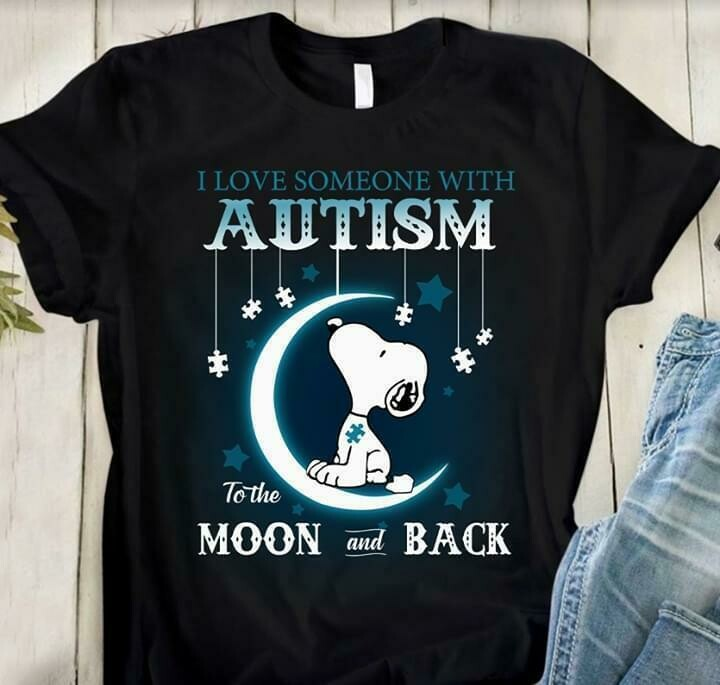 i love someone with autism to the moon and back snoopy autism t shirt