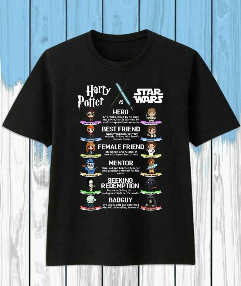 Harry Potter, Star Wars Hero,  Best Friend gift,  Female Friend party, Mentor Seeking, Redemption Bad Guy, Harry Potter lover, Harry Potter gifts, Harry Potter Glasses, Harry Potter Party shirt