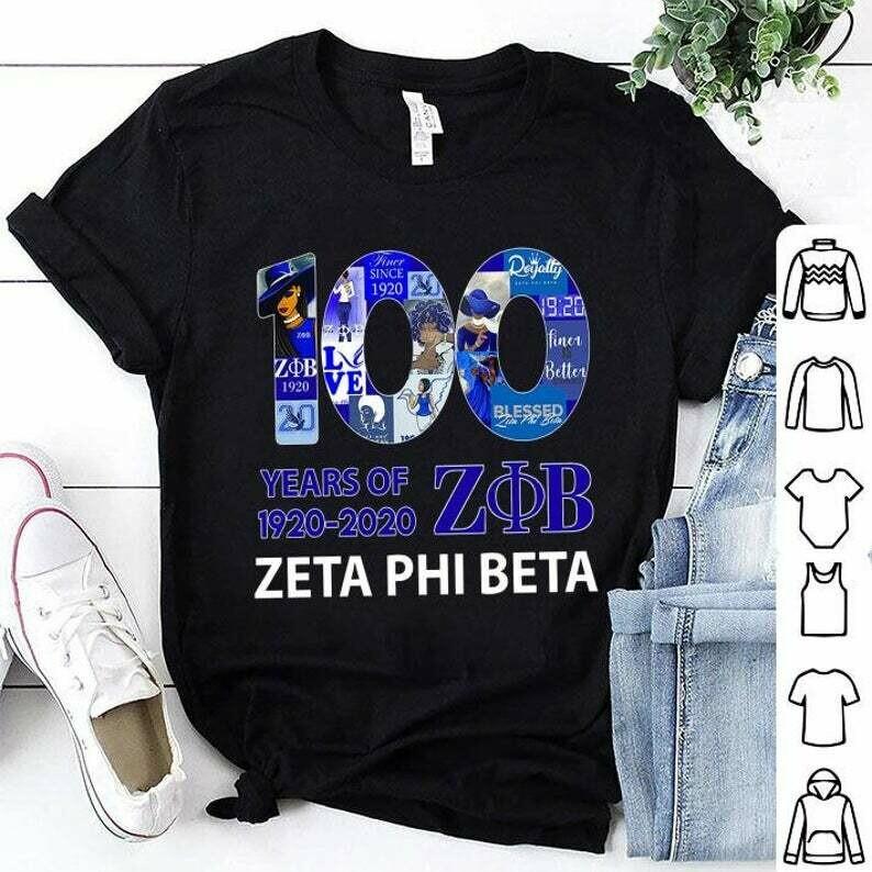 100 Years Of Zeta Phi Beta 1920-2020 shirt, 100 Years, Zeta Phi Beta, 1920-2020 shirt, Zeta Phi Beta tshirt, zeta phi beta gift, memory zeta phi beta, Unisex Adult Clothing, Tops & Tees, T-shirts