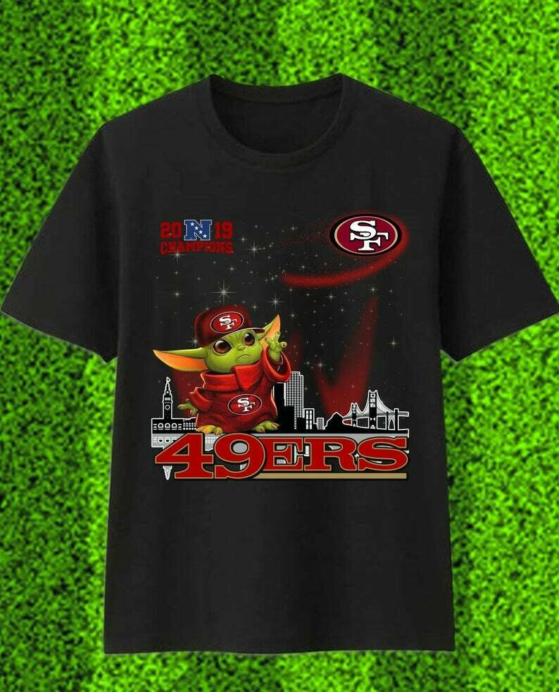 Baby Yoda San Francisco 49ers,Star Wars The Mandalorian The Child First Memories Floating NFL Football Team Fan T-Shirt, Baby Groot And Yoda, San Francisco 49ers, Star Wars Fan gifts Shirt