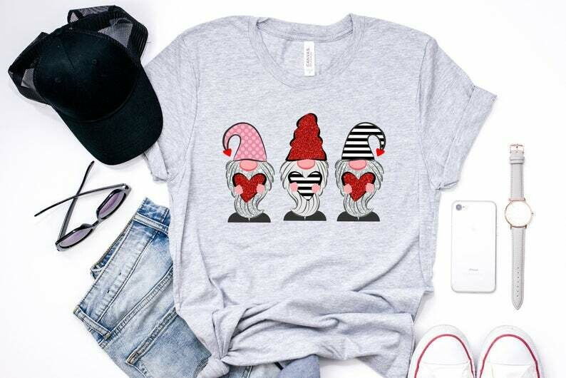 Gnomes Valentines, Gnomes Valentines Shirts, Gnomes Valentine's Day, Valentines Day Shirt, Valentines Day Tshirt, Cute Valentine Shirts, Gnomes Valentines, Valentines Shirts, Gnomes Shirts