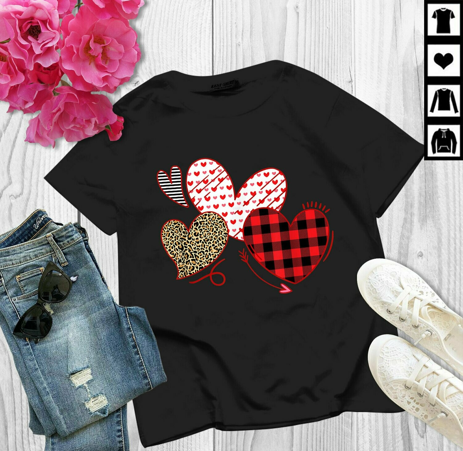 Hearts And Arrows Leopard Plaid Valentines Day S Women,  valentines day shirt, heart shirt, valentine day shirt, valentine day tee, rose gold heart, womens valentines, vday shirt women