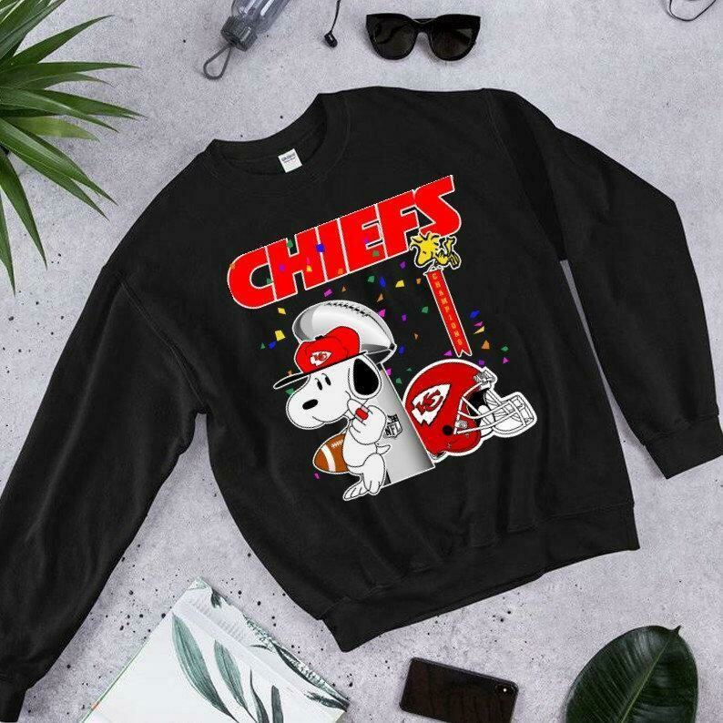 Kansas City Chiefs Snoopy,Woodstock and Charlie Brown,Peanuts Friends Floating Football Team Dad Mon Kid Fan Gift T-Shirt, superbowl 2020, KC Football Team, Kansas City Chiefs, Funny Football gift tee