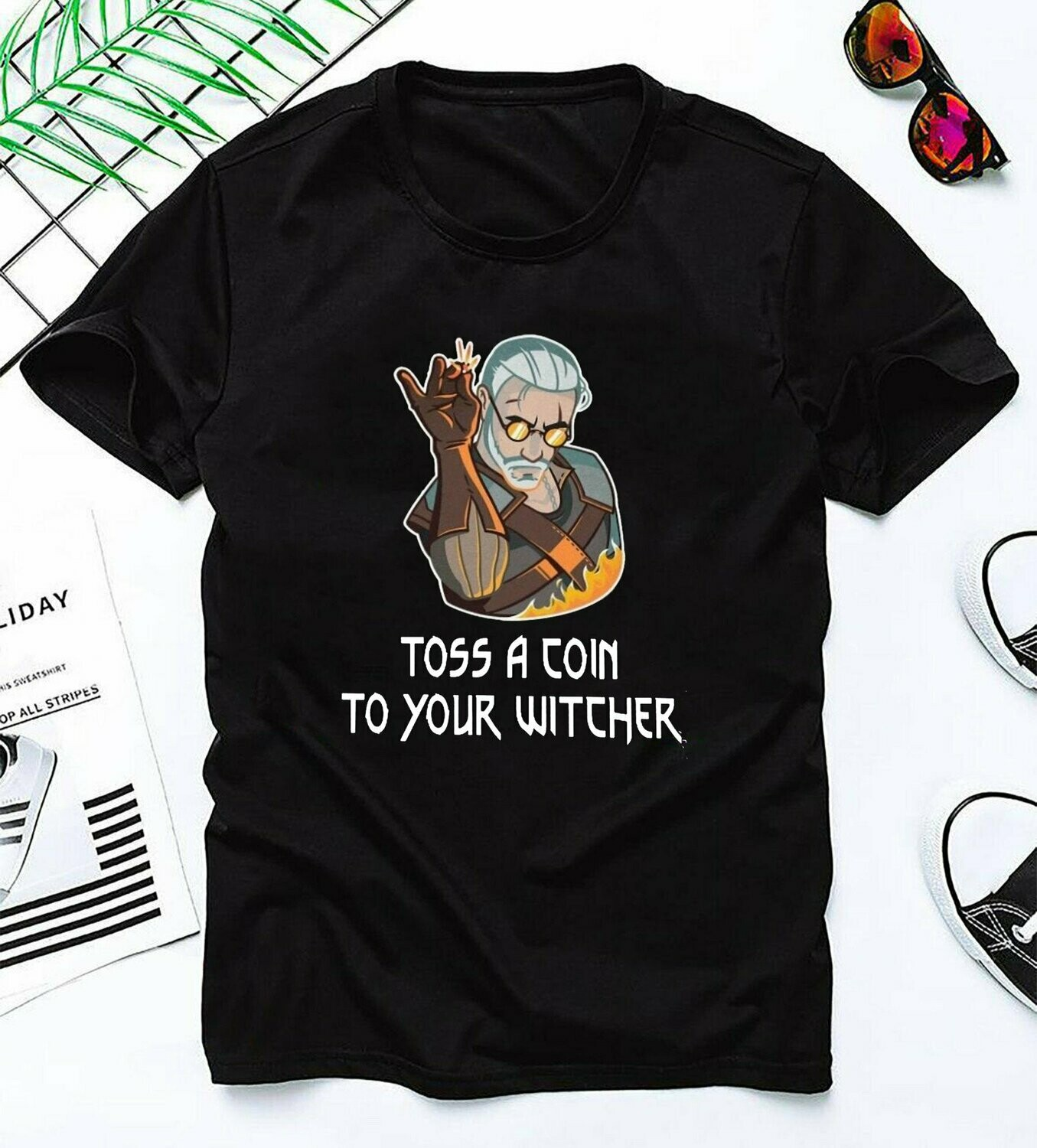 Witcher Geralt Toss a Coin to Your Witcher Funny,Witcher 3 Geralt Of Rivia With Medallion fan gift T Shirt, Witcher Geralt Toss, Coin to Your Witcher, Witcher 3 Geralt, Rivia With Medallion tee