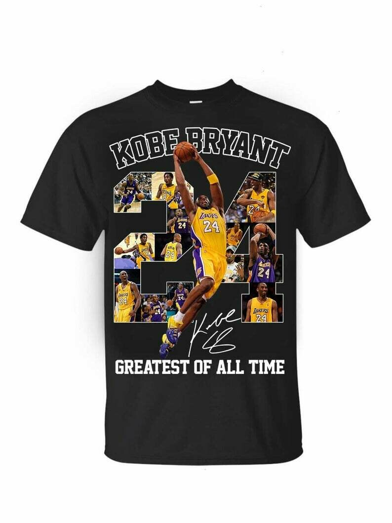 24 NBA Kobe Bryant Lakers Greatest Of All TimeLos Angeles Lakers thank you Kobe Bryant 1978 2020 legends never die signature T-Shirt