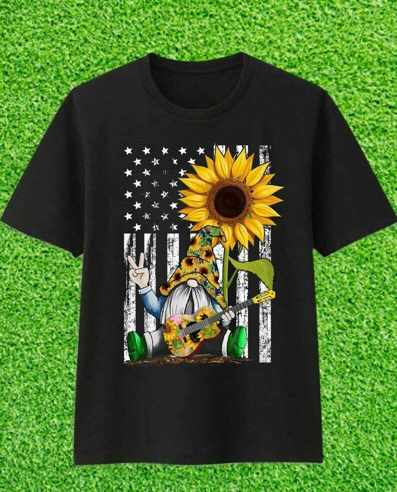 American Flag Love Peace Freedom Sun Flower Gnome play Guitar Gift For Men Women T-Shirt
