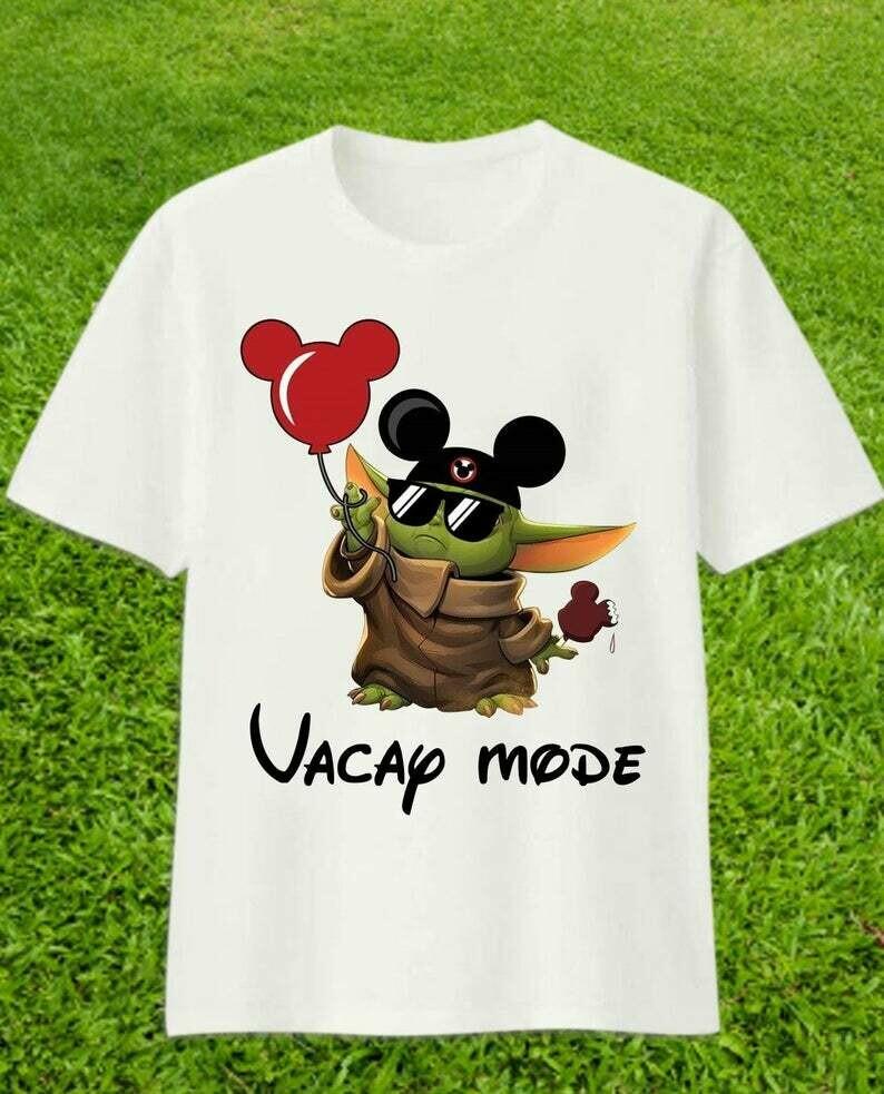 Vacay Mode Baby Yoda Mickey Disney The Mandalorian With Death Star Wars Movie Walt Disney Vacation Family Let's Go to Disney World T-Shirt