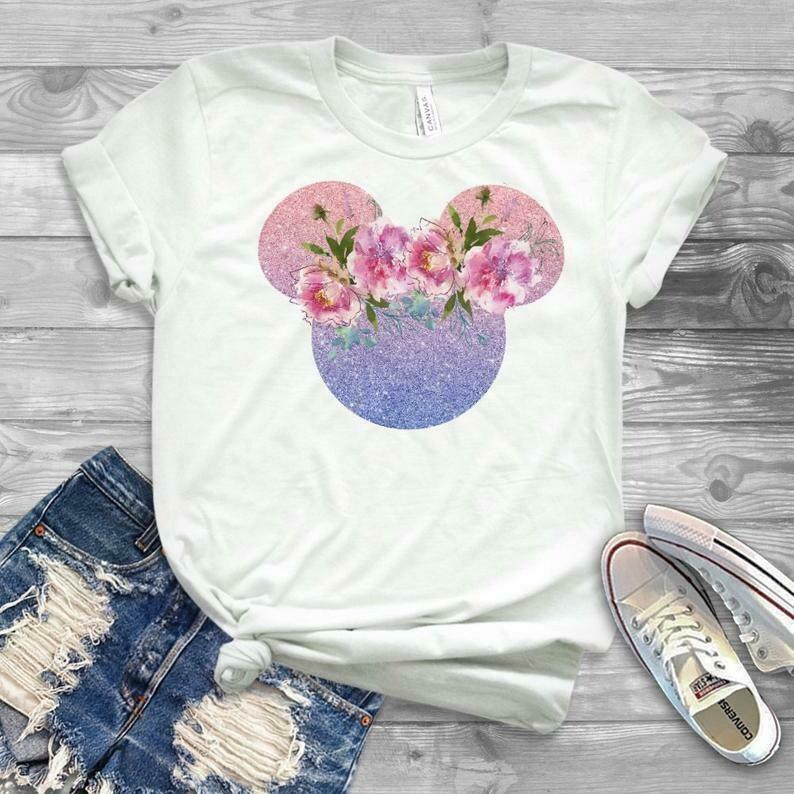 minnie mouse shirt, womens disney top, disney t-shirts, spring disney shirt, mickey shirt, mouse ears shirt, floral shirt disney