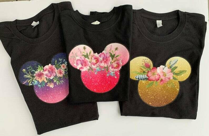 Magic kindgom shirt, black disney tshirt, minnie mouse shirt, disney tee for women, disney top for women, glitter, roses