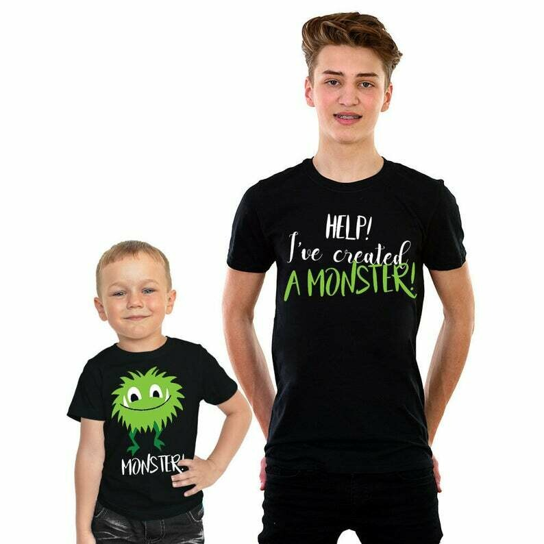 Help I've Created a Monster shirts - Mother's Day, Mommy and me Matching shirts - Fathers Day Shirt set Monster shirt Father Son Funny #MON5