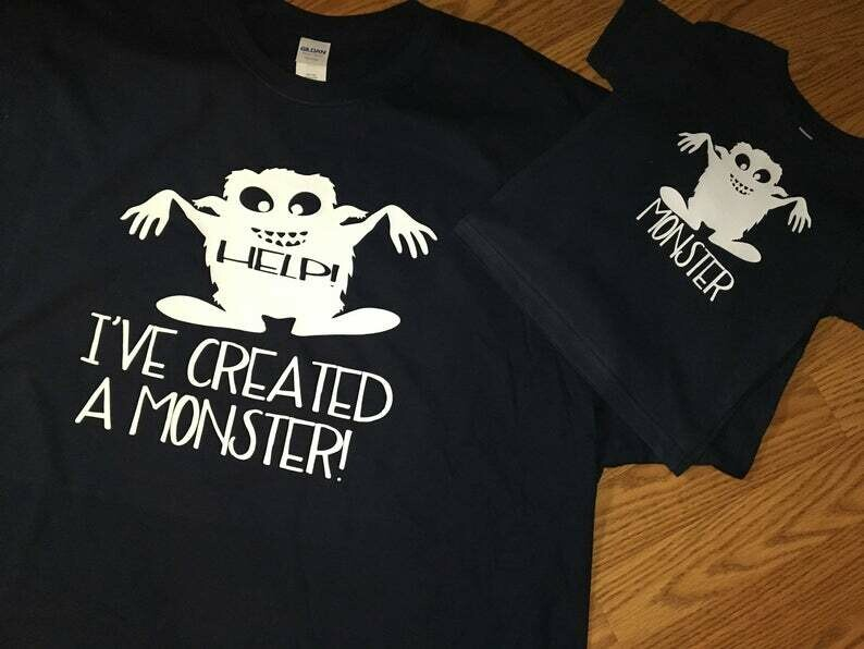 Help Ive Created a Monster, Monster, Mommy and Me, Mommy, Me, Tshirt Set, Toddler, Adult, Shirt Set, Matching Shirts, Monster Tshirts