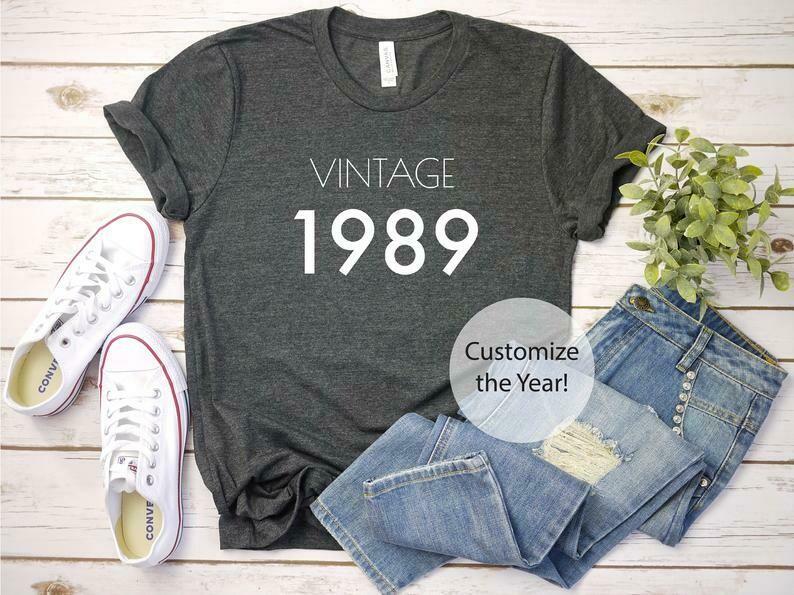 Custom 30th Birthday Shirt // Vintage Year Birthday Tee // Unisex T-Shirt Men Women Plus Size