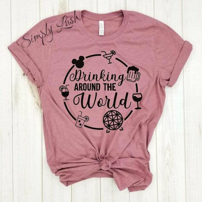 Drinking around the world CIRCLE - tshirt, disney shirts, disney family shirts, epcot shirt, food and wine festival,epcot drinking,drinking.